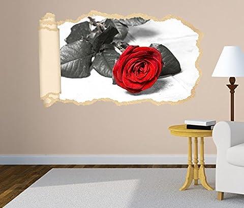 3D Wandtattoo rote Rose Blume schwarz weiß Love Tapete Wand Aufkleber Wanddurchbruch Deko Wandbild Wandsticker 11N1319, Wandbild Größe F:ca.
