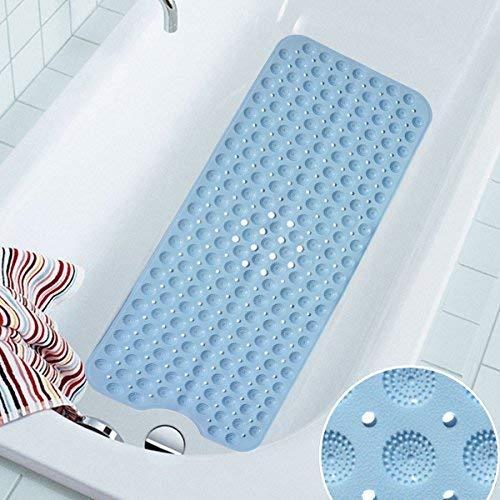 COCOCITY Badewanneneinlage RutschfesteDuschmatte aus Naturkautschuk 100 cm X 40 cm Badematte Schimmelfreie Badewannenmatte mit Saugnäpfen für Alter,Junger (Blau, Pink, Weiß)