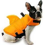 HanDingSM Hundeschwimmweste,Haustier-Schwimmweste,Rettungswesten für Hunde, Hunde Shark Pattern Schwimmweste (L, Orange)