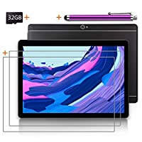 Android Tablet 10 inch with SIM Card Slot Unlocked +(2) Screen Protector +32GB SD Card +(1) Stylus Pen - IPS Screen 3G Phablet with WiFi GPS Bluetooth Tablets - (Black)(2GB+32GB) ...