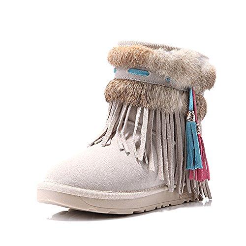 FUFU Scarpe da donna / Stivali da neve invernali / Stivali da moda Outdoor / Flat Heel Beige / Cammello / Marrone ( Colore : Beige , dimensioni : EU37/UK4-4.5/CN37 ) Beige
