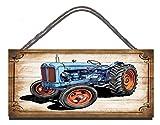 Gigglewick Gifts Panneau en Bois à Suspendre Décoration Murale Fordson Major Vintage Tracteur Illustration Anniversaire Occasion Cadeau de Cadeau de Plaque Murale...
