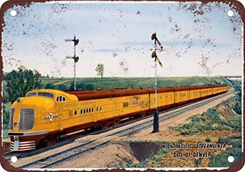 RGTG 1940 Union Pacific Streamliner City of Denver Vintage Look Reproduction Metal Tin Sign 12X18 Inches