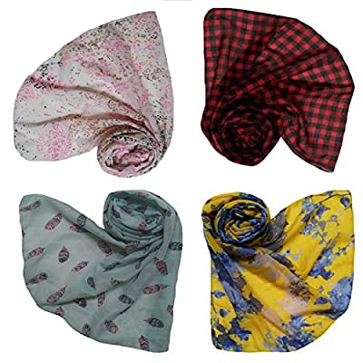 Letz Dezine ™ Printed Poly Cotton Set of four mullticoloured stoles; scarf and stoles for women(LDS244)
