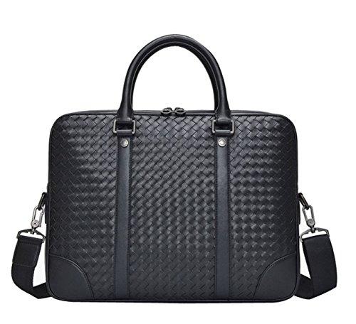 Echtes Leder Handtaschen Aktentasche Business Taschen 14 Zoll Laptop Taschen Große Kapazität Computer Tasche-Schwarz,Black-14Inches