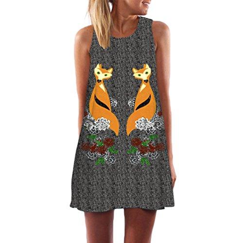 WanYang Casual da Donna Estate Stampa Slim Senza Maniche Canotte Spiaggia Mini Vestito (Bianca alquanto trasparente) Due Fox _034
