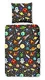 Aminata Kids - Kinder-Bettwäsche-Set 135-x-200 cm Weltraum-Motiv Weltall Astronaut Universum Planet-en 100-% Baumwolle Renforce anthrazit dunkel-grau