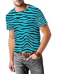 Cebra azul brillante para hombre mezcla de algodón T-Shirt