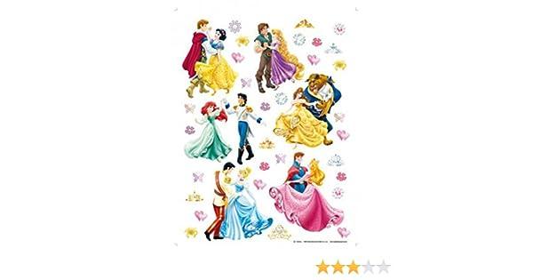 Dansent avec Leurs Princes 65 x 42 cm 1art1 Princesses Disney Sticker Adh/ésif Mural Autocollant