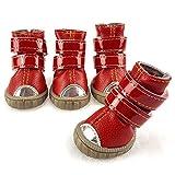 xueyan& Pet Schuhe kleinen Hund Hund wasserdichte Schuhe Teddy VIP tragen Schuhe Winterschuhe, Red, 1