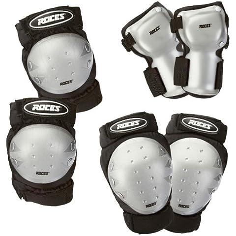 Roces Junior Super 3 Pack - Protecciones para los patinadores para niños, color negro / gris, talla