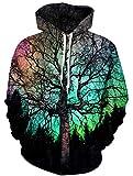 Ocean Plus Herren Kapuzenpullover Lebensecht 3D Grafik Hoodie mit Kängurutasche Pullover mit Kapuze Sweat Hood (L/XL (Brustumfang: 114-134CM), Grün Baum)