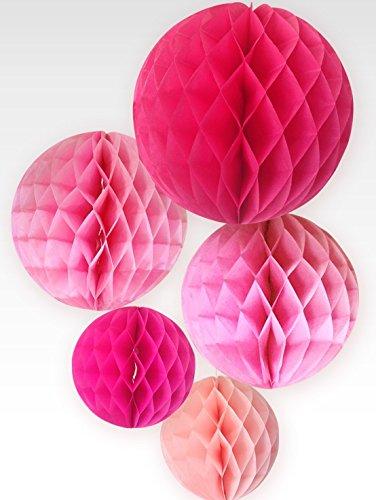 SUNBEAUTYConfezione da 5 pezzi serie sfera rosa nido ape festa di compleanno a forma di tavolo decorazione camera da letto