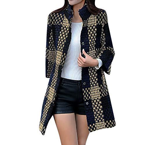 Mambain giacca donna tweed invernale trench donna lungo caldo singolo breasted eleganti taglie forti cappotti di lana giubbotto giacche donna manica lungo antivento imbottito pesante