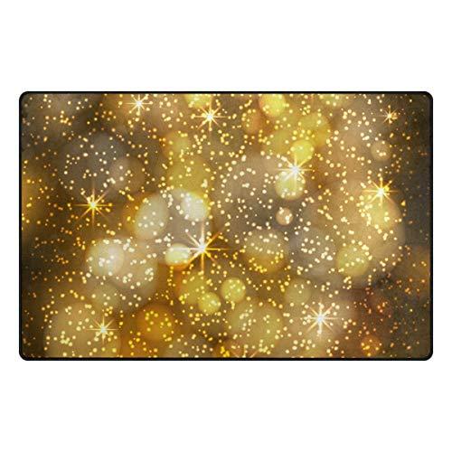 MONTOJ Gold Psychedelic Light Pattern Schuh Scraper Area Teppiche Super Soft Wohnzimmer Schlafzimmer Home Decor Teppich Fußmatte Fußmatte Abriebfest, Polyester, 1, 31 x 20 inch - Super Scraper