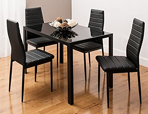 Glass Dining Table Set with 4 Faux Leather Ribbed Chairs Black/White by BY SMARTDESIGNFURNISHINGS