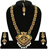 #3: Matushri Art Indian Traditional Temple Jewelry of God Laxmi with Elephant Long Necklace Set for Women and Girls
