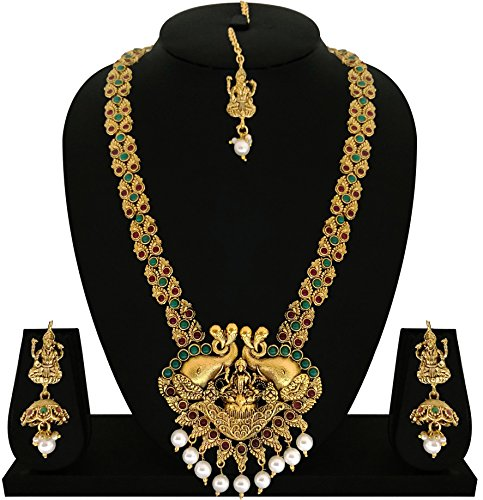 Matushri Art Indian Traditional Temple Jewelry of God Laxmi with Elephant Long Necklace Set for Women and Girls