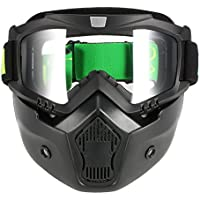 KKmoon Gafas Desmontable Máscara del Moto Filte de Boca para Cascos Abierto Media Cara de Esquí Snowboard Motocross