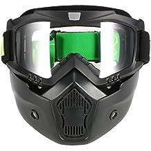 KKmoon Gafas Desmontable Máscara del Moto Filte de Boca para Cascos Abierto Media Cara de Esquí