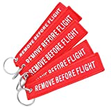 YooGer Red Remove Before Flight Keychain Luggage Tag, Popular Flight Embroidered Arrow Keychain.5 pcs