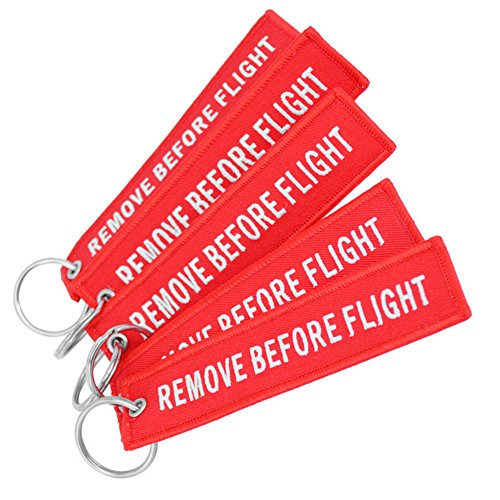 Junyee Remove Before Flight-Schlüsselanhänger, Kofferanhänger, Stickerei-Schlüsselanhänger (5 Stück)