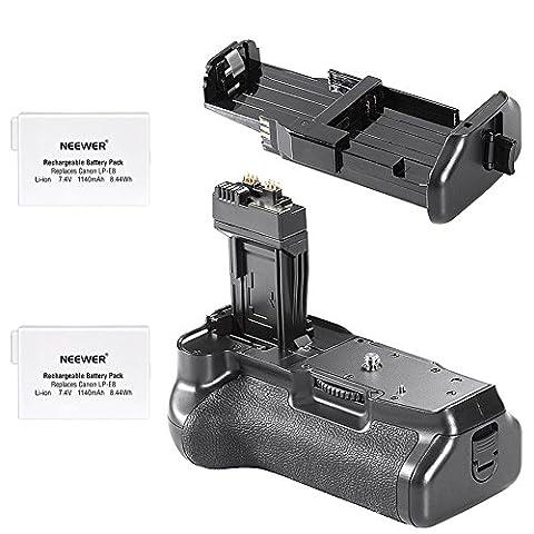 Neewer Grip Batterie (Replacement pour BG-E8) pour Canon EOS 650D/600D/550D, Rebel T2i/T3i/T4i/T5i + 2x 7.4V 1140mAh LP-E8 Remplacement Batterie