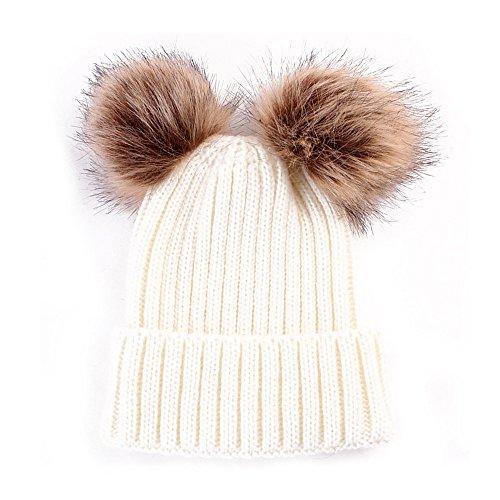 NYKKOLA Winter Warm Stretchy Knit Slouchy Beanie Hats Double Pom Hat Crochet Hemming Hairball Cap
