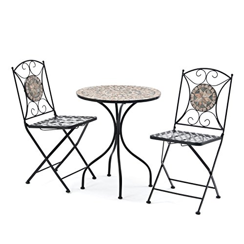 2 Person 60cm Algiers Mosaic Bistro Garden Furniture Set Table and 2 Chairs