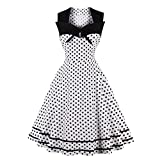 Weihnachten Kleider Damen Abendkleid Ballkleid Cocktail Party Swing Rockabilly 1950er Vintage Elegant Hepburn Hochzeit Spitzen Brautjungfern, Patchwork ärmelloses Kleid (18,Medium)