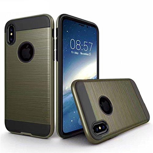 Stylischem Aluminium Schutzhülle Case Tasche Bumper Premium Hülle für Apple iPhone X, Gold Dunkelblau