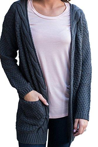 YuanYan Femme Gilet Epais Cardigan Boho Tricot Twist Longue Epais Lourd Pull Chaud Amtomne Hiver Plus Size (S-2XL) Gris Foncé
