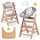 Hauck Beta Plus Newborn Set Deluxe - Chaise Haute Bébé en Bois - Évolutive dès naissance - Inclus Transat pour nouveau-né, Coussin assise, Tablette, hauteur réglable - Nature
