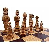Edles grosses Schach Schachspiel 65 x 65 cm Holz, OAK Handgeschnitzt Geschnitzt