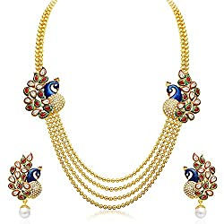 Youbella Gold Plated Traditional Dancing Peacock Multi Strand Necklace With Earrings For Girls And Women