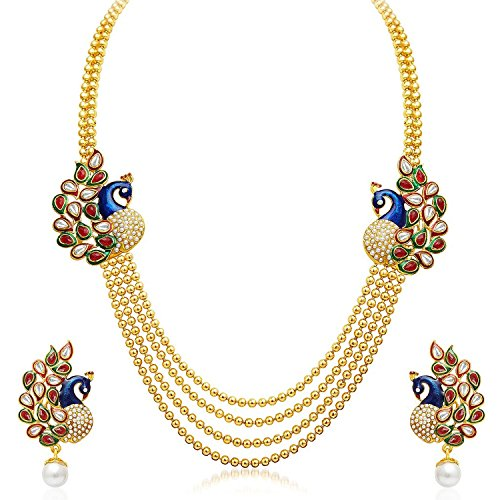 YouBella Jewellery Gold Plated Traditional Dancing Peacock Necklace Set / Jewellery Set with Earrings for Girls and Women : Best Diwali Gifts