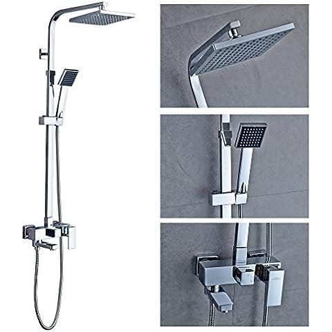 KINNLO Haus Doccia set completo di altezza termostato di soffione doccia regolabile set di ottone di alta qualità in argento placcato per il bagno e vasca da bagno - Pannello Guarnire