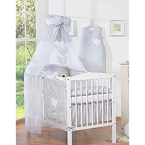 SWB - Dosel para cuna o cama infantil, diseño con corazones y banda de color gris