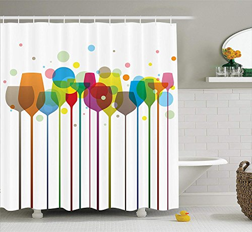 Jolly2T Winery Decor Shower Curtain Set, Colorful Stylish Tall Wine Glasses Alcohol Drink Beverage Fizzy Champaine Party Bar Art Design, Bathroom Accessories, 60x72 Inches, Multi Tall Beverage