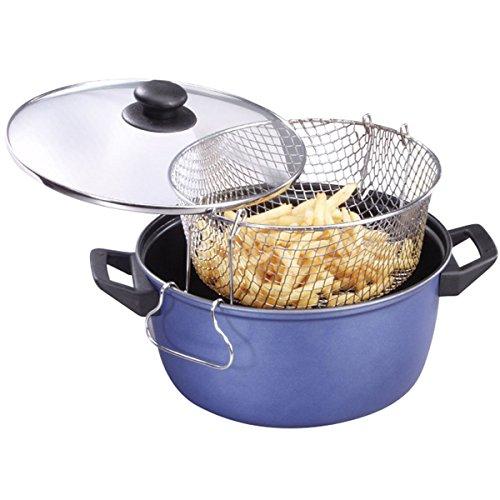 Antihaft-korb (Frittiertopf mit Einsatz und Glasdeckel blau oder rot 6 Liter antihaft-beschichtet - Korb Fritteuse Frittierpfanne Pommes Topf Fritten)