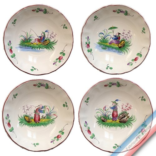 Lunéville 1730 Collection Chinois - Assiette Calotte - Diam 19 cm - Lot de 4