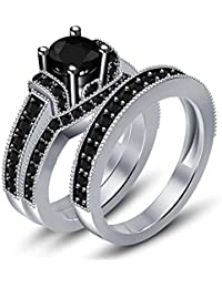 Silvernshine Mens & Ladies Black Sim.Diamond 14k White Gold 925 Silver Engagement Ring Trio Set