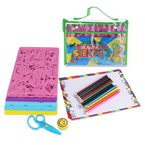 OULII dibujo plantillas con diseños surtidos creativos arte pintura plantillas conjunto de herramienta educativa para niños aprender viaje regalo