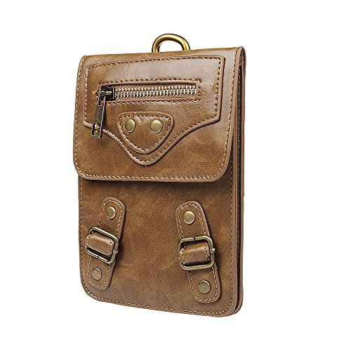 xhorizon TM MW8 Vielseitig Utility unterstützte Hüfttasche mit Metallknopfverschluss, Leder Handy Tragetasche mit Gürtelschlaufe, Lässige Klettern Wandern Außen Hüfttasche für verschiedene Telefon #3 Khaki