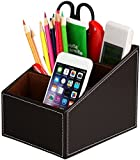 Discoball 3 Slot PU Leather Storage Box Home Sundries Office Supplies Organiser Storage Box Remote Control Mobile Phone Holder Office Desktop Accessories Tidy Organizer Box Business Stationery Collection Storage Case (Brown)