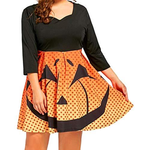 99native Damen Halloween Dreiviertel Ärmel Kürbis Print Kleid, Rundhalsausschnitt lose große Schaukel Reißverschluss Prinzessin Minikleid Größe XL-5XL (5XL, Orange)