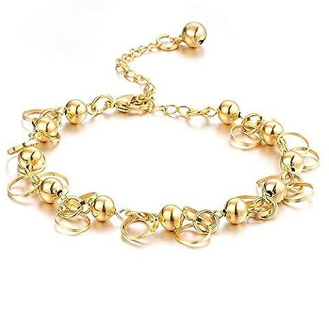 anewish Femmes Bracelets Perles mousseux de couleur d'or
