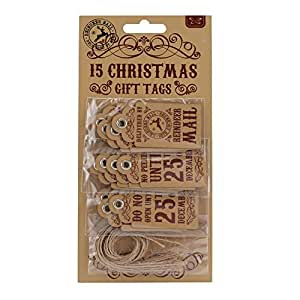 Reindeer Mail Mini Quality Christmas Gift Tags - 15 Tags (3 x 5 Designs) - Size 30mm x 60mm