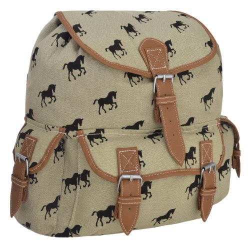 Sac a dos canvas en simili cuir motif chevaux