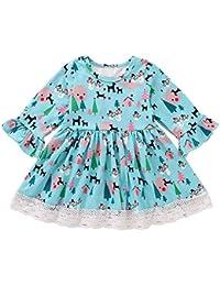 POLP Niña Invierno Vestido de niña Manga Larga para niñas Princess Casual Niños pequeños Vestir Otoño